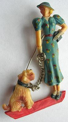 Stylish 40s Woman and Terrier Pin-not bakelite but still cool