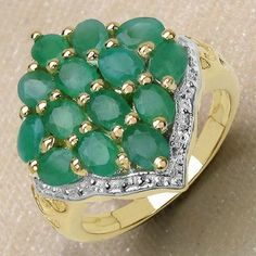 2.80CTW Genuine Emerald 14K Yellow Gold Plated .925 Sterling Silver Ring - http://www.johareez.com/shop/justbuyit/rings/2-80ctw-genuine-emerald-14k-yellow-gold-plated-925-sterling-silver-ring-2-27241/$10622885