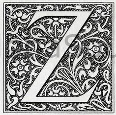 illuminated letter Z | INSTANT DOWNLOAD French Letter Z Illuminated Lettering Ornate Very Hi ...