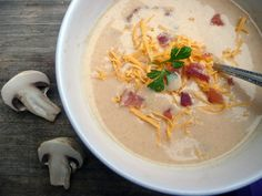 bacon mushroom beer cheese soup my-that-looks-tasty Bacon Stuffed Mushrooms, Bacon Mushroom, Beer Recipes, Soup Recipes, Beer Cheese Soups, Yummy Appetizers, Pumpkin Puree, Soups And Stews, Favorite Recipes