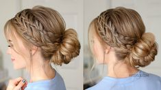 Waterfall French Braid Low Bun | Missy Sue