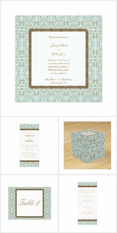 This modern touch to a classic damask design is beautiful and will set a very glamorous mood for your wedding. This design has a robin egg blue background with a gold damask pattern. In the center is a dark gold border around a white area for your text. Damask Wedding, Invitation Set, Blue Backgrounds, Robin, Egg, Reception, Frame, Pattern, Gold