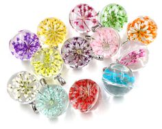 5pcs 27x20mm Hot sale Jewelry Crystal Glass Real Mix Colors Dried Flower Ball Necklace Pendant; Necklaces For Women,Girl Gifts #Affiliate