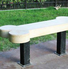 Dog Bone Concrete Bench..Originally pinned by Jill Beck onto Books Worth Reading .