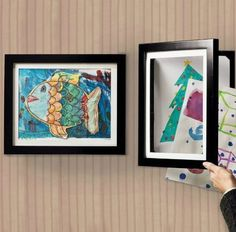 This unique children's artwork frame has a spring-loaded pocket which allows you to change out your child's art creations in an instant. This pocket frame displays one and hides up to 50 behind. The artwork frame is great for home or office. Displaying Childrens Artwork, Organizing Kids Artwork, Cadre Diy, Just In Case, Just For You, Artwork Display, Expo, Art For Kids, Kid Art