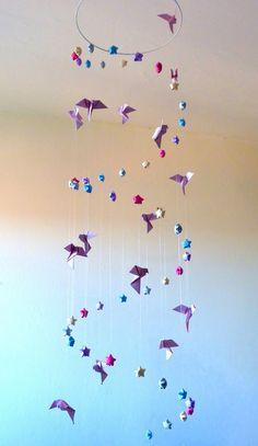 """Grand Mobile pour bébé origami """"L'envol jusqu'aux étoiles""""  by Mademoiselle Origami"""
