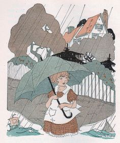 """""""The rain is falling all around,.......    ...It falls on field and tree,  It rains on the umbrellas here,  And on the ships at sea.""""    poem """"Rain"""" by Robert Louis Stevenson  Illustration by Lucille Enders    """"Journeys Through Bookland, a new and original plan for reading applied to the world's best literature for children."""" By Charles H. Sylvester. Volume 1. Bellows-Reeve Company, 1922."""
