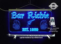 """#Personalized #barsign Made from 3/8"""" Clear Acrylic which gives it more of a glass like appearance. Many colors to choose from with a wireless remote control. Can be made to hang or sit on a flat surface. #uniqueledproducts #cleveland"""