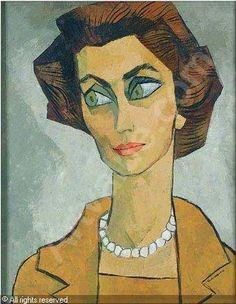 GUAYASAMÍN Oswaldo,Portrait of a woman,Jackson's,Cedar Falls