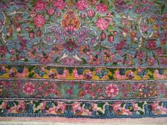 Persian Kerman nice wool Pink, Blue, Yellow synthetic colors  12X19.6  Franco Oriental Rugs