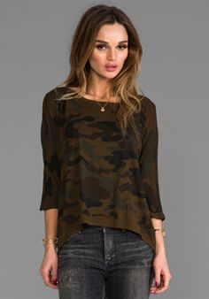 MICHAEL STARS Camo 3/4 Sleeve Wide Neck in Army Green - Military/Camo