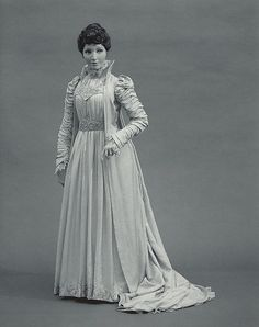 1891 high collar, train, lace embellishment, amazing sleeves