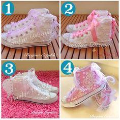 Gelin ayakkabilari- converse- lace/ pearl- bridal comfort shoes
