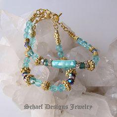 Biwa pearl, swarovski crystal, vintage glass bead, and 24kt gold vermeil pair of 2 bracelets | online upscale artisan handcrafted pearl & gemstone jewelry boutique gallery | Schaef Designs Pearl & Gemstone Jewelry | San Diego, CA