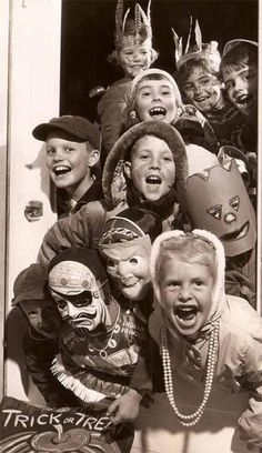 Vintage kiddos in Halloween costume!  The only thing that's changed about this picture is that you can actually see/recognize kids' faces!