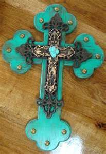 Turquoise Cross - Love this one! Mosaic Crosses, Wooden Crosses, Crosses Decor, Wall Crosses, Decorative Crosses, Cross Love, Sign Of The Cross, Cross Wall Decor, Old Rugged Cross