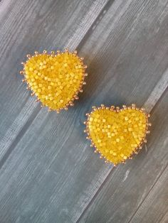 Small heart earring Yellow earrings Heart-shaped beadwork earring Stud earrings Heart beaded earrings Gift for woman Olivia style Trend 2019 ideas Beaded Tassel Earrings, Heart Earrings, Beaded Earrings, Eye Jewelry, Heart Jewelry, Jewlery, Yellow Earrings, Small Heart, Heart Shapes