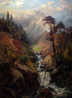 C. Phillipp Weber - Mountain Landscape with Waterfall