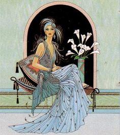 pictures of art deco ladies Art Deco Illustration, Éphémères Vintage, Vintage Prints, Moda Art Deco, Art Nouveau, Art Deco Cards, Art Deco Stil, Kunst Poster, Art Deco Posters