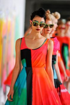 Loving these brightly hued colorblock looks from Manish Arora's F/W 2012 presentation at Paris Fashion Week via aclockworkpink.
