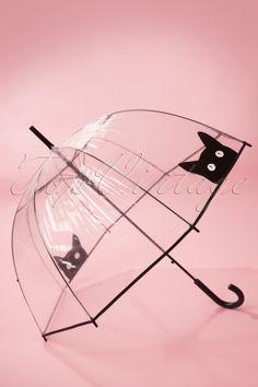So Rainy - 50s It's Raining Cats Transparent Dome Umbrella