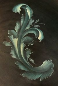 Acanthus and Acorn: Architectural Salvage One Stroke Painting, Tole Painting, Painting & Drawing, Rosemaling Pattern, Norwegian Rosemaling, Pintura Country, Arte Popular, Painting Patterns, Paint Designs
