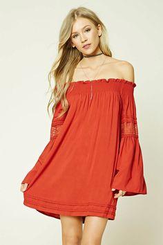 FOREVER 21+ Smocked Bell-Sleeve Dress