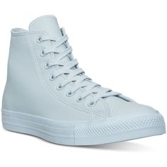 Converse Women's Chuck Taylor Hi Pastel Leather Casual Sneakers from... ($70) ❤ liked on Polyvore featuring shoes, sneakers, converse, ambient blue, converse trainers, blue leather sneakers, leather sneakers, converse sneakers and pastel blue shoes