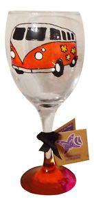 Orange Hand Painted Camper Van Wine Glass Retro Gift For My Hippie Friends #Wedfest Wedding?