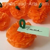 you need tissue paper and pipe cleaners for this simple craft! Step-by-step instructions here: http://littlemisscraft.com/Pumpkin_Patch_Poms-62_1