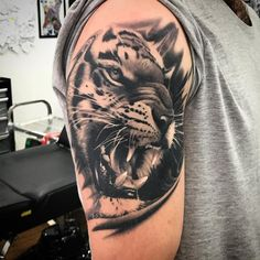 Realistic Girl With Tiger Head Tattoo