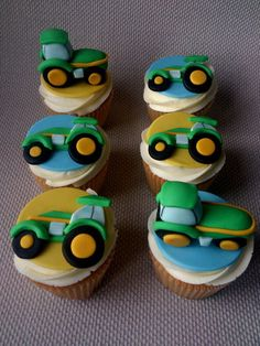 Tractor Cupcakes~love these but tractors should be red,lol