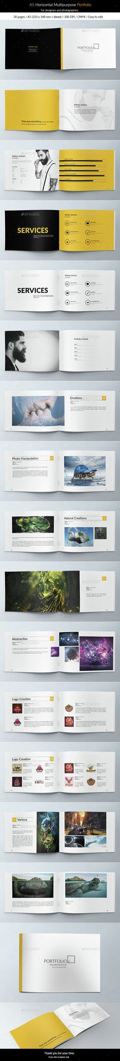 A5 Horizontal Multipurpose Portfolio Brochure Template PSD. Download here: http://graphicriver.net/item/a5-horizontal-multipurpose-portfolio/15221469?ref=ksioks                                                                                                                                                      More