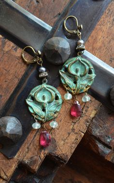 Lovely verdigris lily stampings with mixed gems and pearls by Purrrls on Etsy