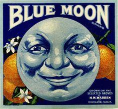 Items similar to Highland Blue Moon Orange Citrus Fruit Crate Box Label Art Print on Etsy Vintage Labels, Vintage Ads, Vintage Posters, Vintage Crates, Vintage Prints, Etiquette Vintage, Vintage Magazine, Paper Moon, Sun And Stars