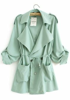 Trench coat in mint. You can never have enough trenchcoats. Green Trench Coat, Long Trench Coat, Green Parka, Trench Jacket, Looks Style, Style Me, Trench Coats Women Long, Long Coats, Spring Summer Fashion
