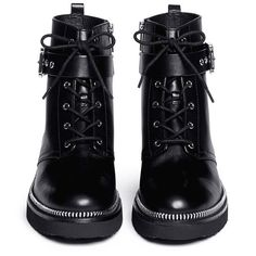 MICHAEL MICHAEL KORS 'Vivia' zip trim leather boots (€295) ❤ liked on Polyvore featuring shoes, boots, botas, zipper boots, genuine leather boots, black strappy shoes, shiny black shoes and strap boots