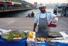Street food vendor selling fish sandwiches in Istanbul, Turkey
