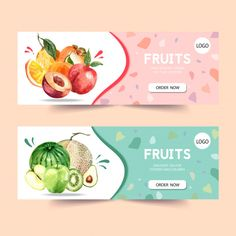 Banner with fruits theme, plum and melon watercolor illustration template. Shop Banner Design, Banner Design Inspiration, Brochure Design, Flyer Design, Layout Design, Label Design, Facebook Cover Design, Fruit Logo, Food Packaging Design