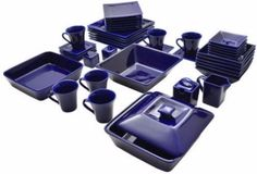 Discount Dinnerware Sets For 6 Square Blue 45 Piece Dishes Set Catering Service #10StrawberryStreet