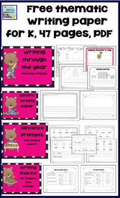 free thematic writing paper for kindergarten, photo of pages in PDF