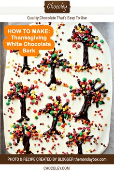 Thanksgiving White Chocolate Bark Recipe White chocolate bark recipe for Thanksgiving and the holidays Easy to make with white chocolate and sprinkles and so cute for fa. White Chocolate Bark, Chocolate Treats, Chocolate Recipes, Chocolate Sprinkles, Thanksgiving Chocolate Desserts, Holiday Desserts, Thanksgiving Recipes, Halloween Chocolate, Halloween Candy