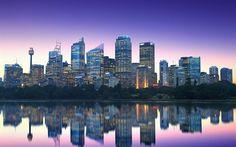 Télécharger fonds d'écran En australie, à Sydney, à la réflexion, la ligne d'horizon, gratte-ciel, ville de soirée