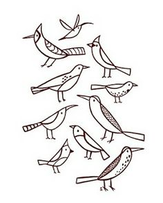 Simple painted pattern of birds. These are some of the birds that live around my house. Simple Bird Drawing, Bird Line Drawing, Simple Line Drawings, Bird Drawings, Easy Drawings, Simple Bird Tattoo, Easy Patterns To Draw, Bird Doodle, Drawing Tutorials