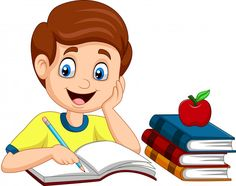 Vector illustration of Cartoon little boy studying Student Cartoon, Teacher Cartoon, Kids Cartoon Characters, Cartoon Kids, Good Habits For Kids, Reading Cartoon, Animated Clipart, Kids Background, School Painting