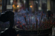 Räucherstäbchen in der Tran-Quoc-Pagode, Hanoi. Sie dienen der Ahnenverehrung und Geisterbeschwörung.