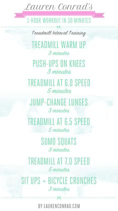Lauren Conrad's 1-Hour Workout in 30 Minutes (for the gym)