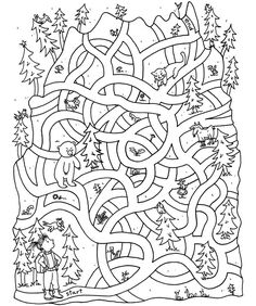 wilderness maze for the wilderness cabin kid Preschool Worksheets, Preschool Learning, Colouring Pages, Coloring Books, Theme Sport, Maze Worksheet, Printable Mazes, Mazes For Kids, Hidden Pictures