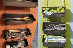 Old loaf pans repurposed as hanging organizers. Easy DIY project. (If one didn't want to bother with chains, small brackets could be used underneath to attach them to the wall.) #upcycle #repurpose #DIY #kitchen Meatloaf Pan, Baking Tins, Pan Bread, New Uses, Kitchen Items, Kitchen Decor, Kitchen Organization, Spice Drawer, Reuse