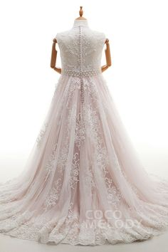 Impressive A-Line Illusion Natural Court Train Tulle and Lace Ivory/Veiled Rose Sleeveless Zipper With Buttons Wedding Dresses with Appliques Beading and Sashes CWXT16009cocomelody#weddingdresses#bridal#gowns#